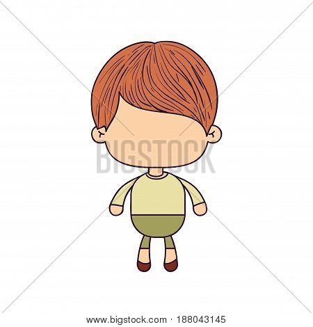 colorful caricature of faceless cute boy with haircut vector illustration