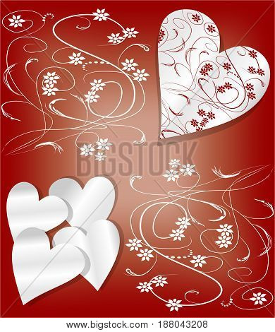 Valentine day background in art deco style. Heart cut out of paper, combined with delicate floral pattern