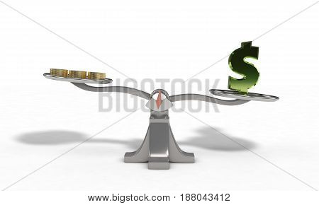 Weights With Dollar And Money Coin Concept, 3D Render