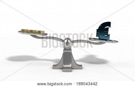 Weights With Euro And Money Coin Concept, 3D Render