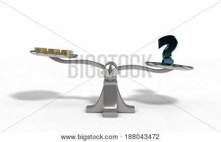 Weights With Question Mark And Money Coin Concept, 3D Render