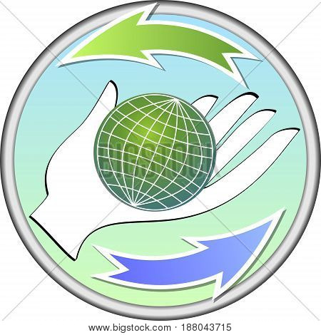 Ecologic circle emblem with a globe on palm and two arrows
