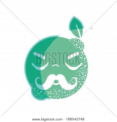 silhouette kawaii nice shy lemon fruit, vector illustration