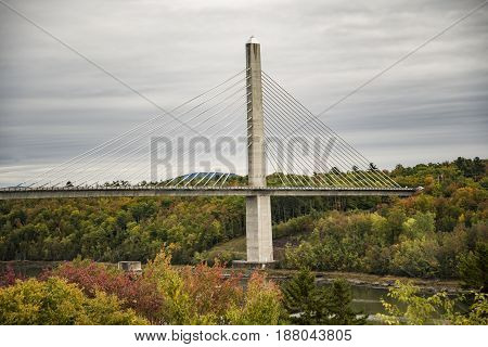 Penobscot Narrows bridge duing the fall Verona Isoland Maine USA