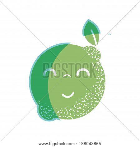 silhouette kawaii nice happy lemon fruit, vector illustration