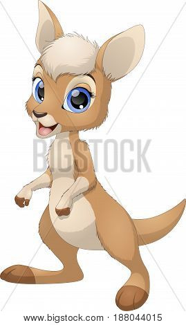 Vector illustration, cute baby kangaroo, on a white background
