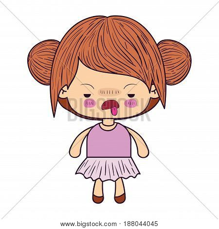 colorful caricature little girl with double collected hair and facial expression of disgust vector illustration