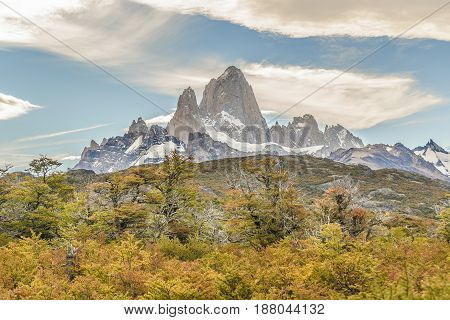 Beautiful patagonian andes range landscape scene with famous Fitz Roy mountain at El Chalten town Argentina