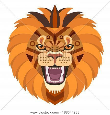 Angry lion head Logo. Vector decorative Emblem