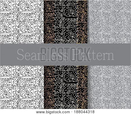 Drawn by hand symbols, shapes, dots and circles on a white, gray and black background. National motives. Set of three seamless patterns.