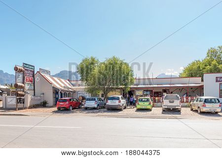 LADISMITH SOUTH AFRICA - MARCH 25 2017: A small shopping centre with restaurant and winery in Ladismith a small town in the Western Cape Province
