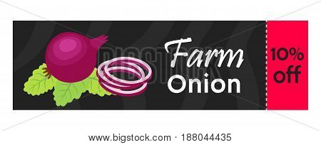 Onion sale - organic, vegetarian nutrition. Fresh garden product. Made in cartoon flat style.