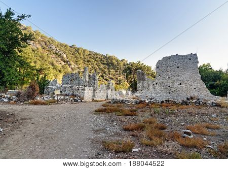 Avenue Of North Necropolis. Ruins Of Ancient City Olympos In Lycia. Turkey