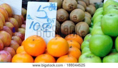 closeup of fresh fruits selling at market