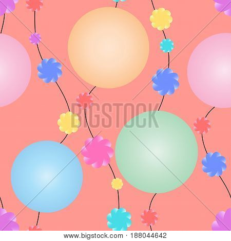 Garlands with huge multicolored beads and small flowers on an orange background. Seamless vector pattern for your design.
