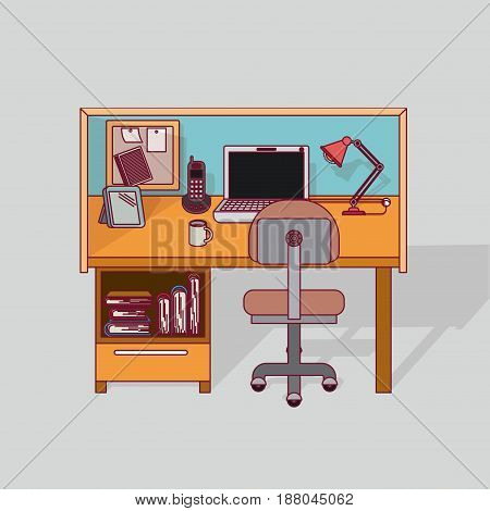colorful background work place home office interior vector illustration