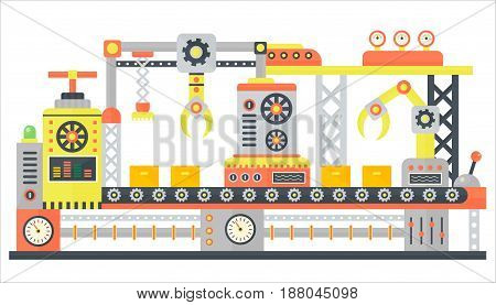 Industrial abstract machine line in flat style. Factory construction machinery technology equipment, engineering vector illustration