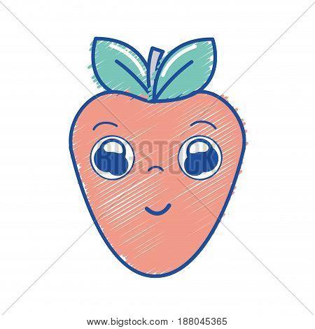 kawaii nice happy strawberry icon, vector illustration