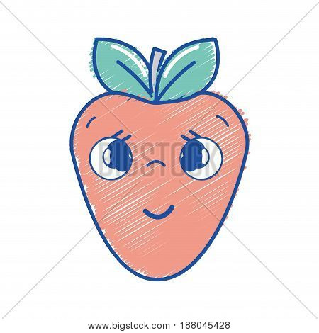 kawaii nice shy strawberry icon, vector illustration