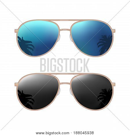 Aviator modern sunglasses with palms reflection. Vector color flat illustration isolated on white background. For summer poster and banner
