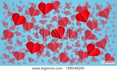 Hearts on the light blue background. Background for postcard. Design High Definition. EPS10 Vector.