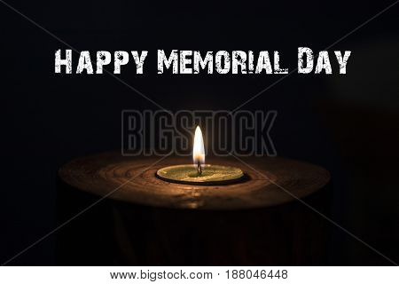 Memorial Day, Inscription On Black Background And Candle
