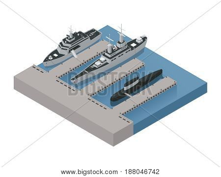 Colored military boats isometric 3d composition with ships moored near the shore vector illustration