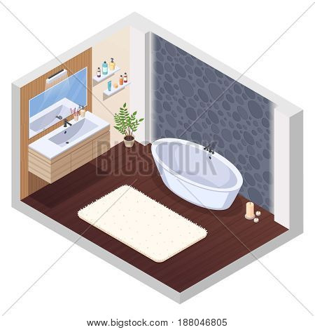 Bathroom isometric interior composition with jaccuzi spa tub wall tile mirror washstand bath mat and candles vector illustration