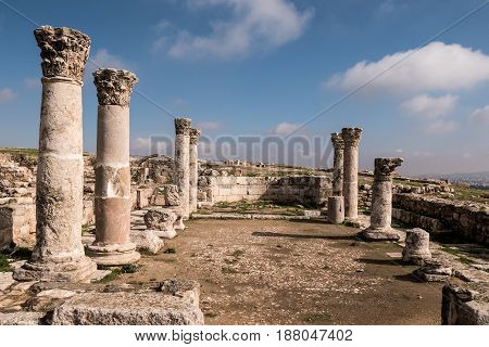 The ruins of the sixth or seventh century Byzantine Church at The Citadel (Jabal al-Qal`a) in Amman, Jordan
