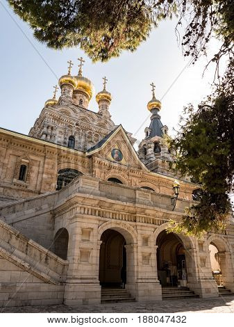 Russian Orthodox Church of Mary Magdalene on the Mount of Olives in East Jerusalem
