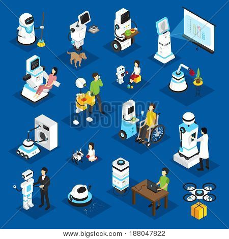 Robots isometric set with machine for business, housework, medicine, patient care on blue background isolated vector illustration