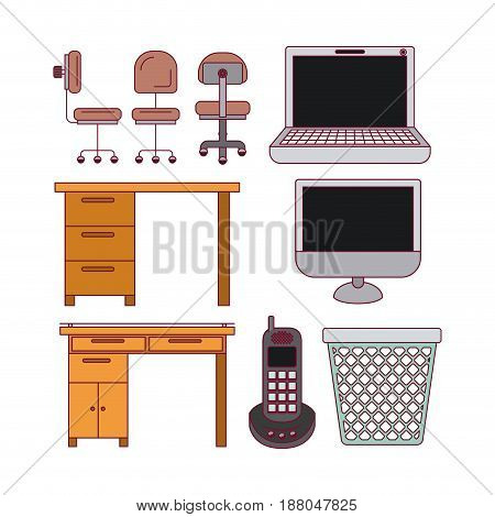 white background with color silhouette tech elements and office desk set vector illustration