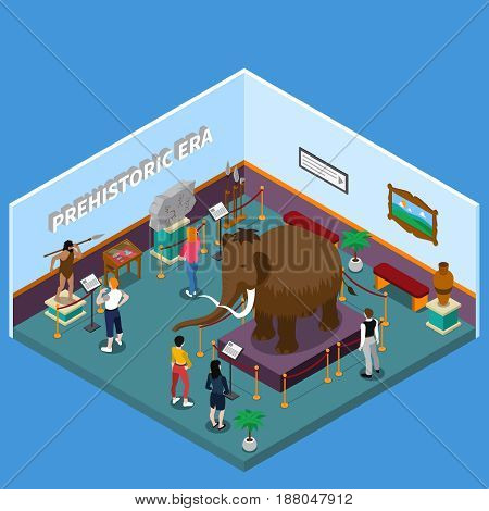 Historical museum with ancient man and weapon, mammoth, rock painting, visitors on blue background isometric vector illustration