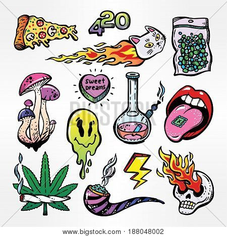 Fashion patch badges set with stoned trippy drug theme and cool psychedepic character elements in cartoon 90s comic style. Pop art patches, pins, stickers. Fashionable vector weed stickers collection.