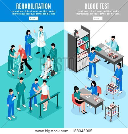 Hospital vertical isometric banners set with lab blood test and rehabilitation center patients treatment isolated vector illustrations