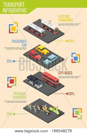 Transport infographics with isometric images of different transportation vehicles and material design elements with editable text vector illustration