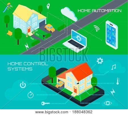 Smart home automation control system 2 horizontal colorful banners set with outdoor isometric schematic view vector illustration