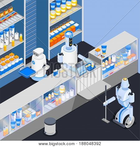 Robot isometric professions composition with smart robotic store attendants at counter of household chemical goods shop vector illustration