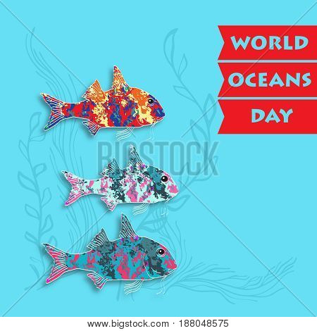 World Ocean Day card. Vector illustration. Creative abstract  poster with silhouette  fish. Suitable for banner, campaign, and greeting card.