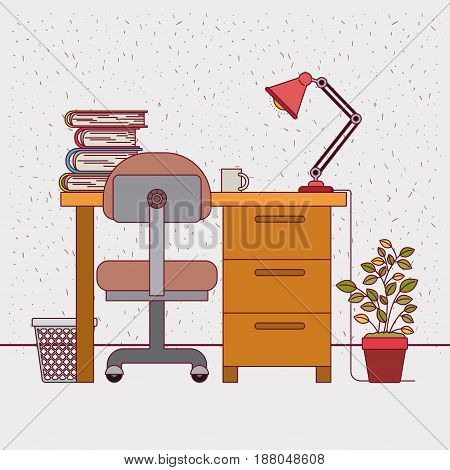 color background with sparkles and study place home interior vector illustration