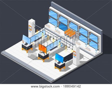 Electronics supermarket isometric composition with electrical shop room with widescreen tv monitors and equipment for sale vector illustration