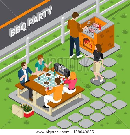 Bbq party isometric composition with cooking on grill, people at table with foods, dancing woman vector illustration