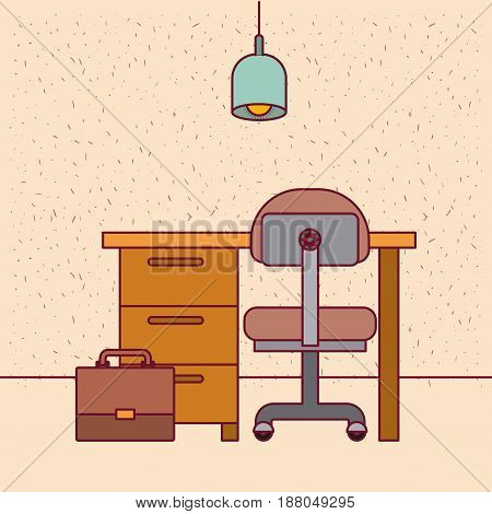 color background with sparkles work place office interior with lamp and portfolio vector illustration