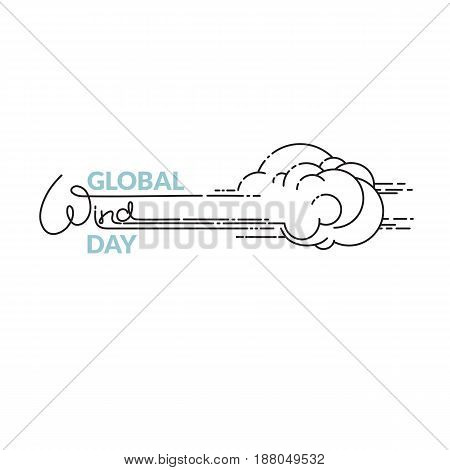 Global Wind Day vector illustration  isolated on white background. Linear wind, cloud  and handwritten word. 15 june world ecology holiday. Event label, greeting card, decoration graphic element.