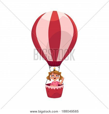 Little girl with ponytails flying in hot air balloon, aircraft, cartoon vector illustration isolated on white background. Cute, pretty little girl flying up in pink aerostat, hot air balloon