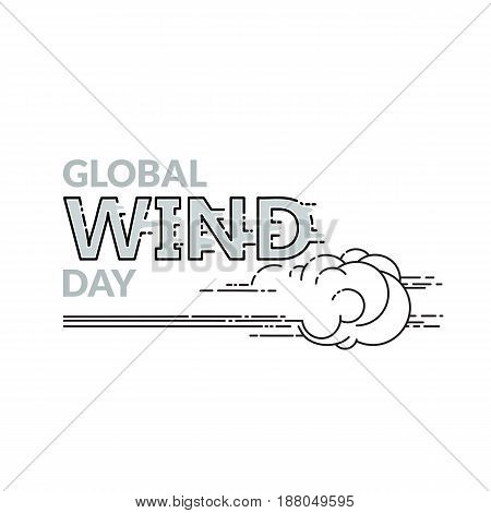 Global Wind day emblem isolated on white background. Linear wind, cloud  and  word. 15 june world ecology holiday. Event label, greeting card, decoration graphic element. Vector illustration.