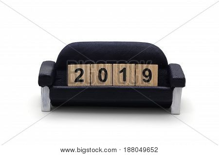 Isolated 2019 Dice On The Miniature Sofa On White Background