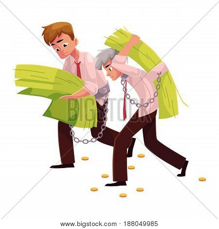 Two men, young and old, carrying huge bundle of money, one on back, another in hands, cartoon vector illustration isolated on white background. Financial dependence, money earning burden concept