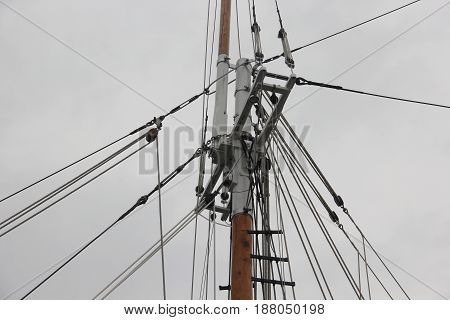 The rigging and ropes of a Schooner