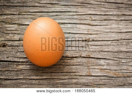 One Single Simple Of Egg On Wooden Table With Copy Space